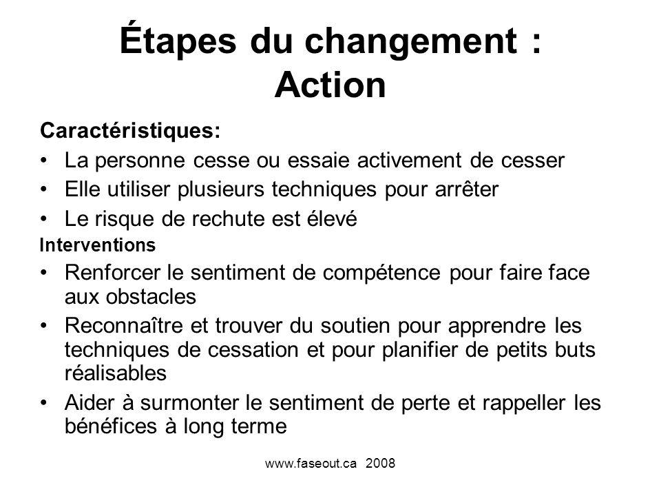 www.faseout.ca 2008 Étapes du changement : Action Caractéristiques: La personne cesse ou essaie activement de cesser Elle utiliser plusieurs technique