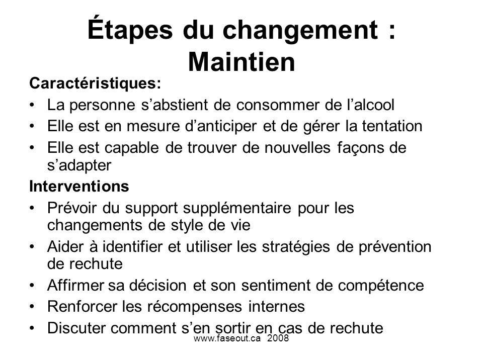 www.faseout.ca 2008 Étapes du changement : Maintien Caractéristiques: La personne sabstient de consommer de lalcool Elle est en mesure danticiper et d
