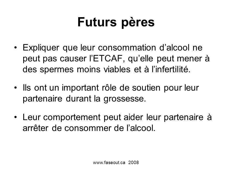 www.faseout.ca 2008 Futurs pères Expliquer que leur consommation dalcool ne peut pas causer lETCAF, quelle peut mener à des spermes moins viables et à linfertilité.