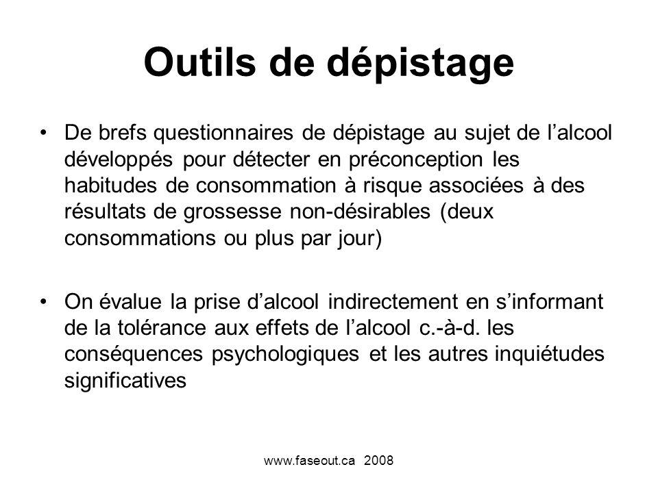 www.faseout.ca 2008 Outils de dépistage De brefs questionnaires de dépistage au sujet de lalcool développés pour détecter en préconception les habitud