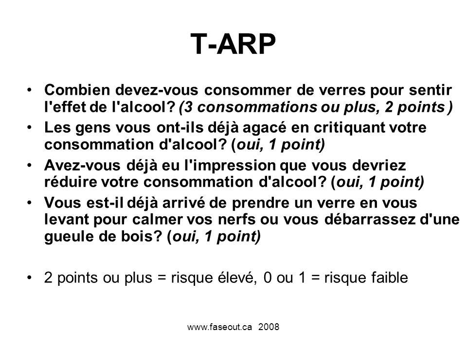 www.faseout.ca 2008 T-ARP Combien devez-vous consommer de verres pour sentir l'effet de l'alcool? (3 consommations ou plus, 2 points ) Les gens vous o