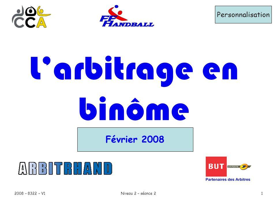 2008 – 8322 – V1Niveau 2 – séance 21 Personnalisation Février 2008 Larbitrage en binôme