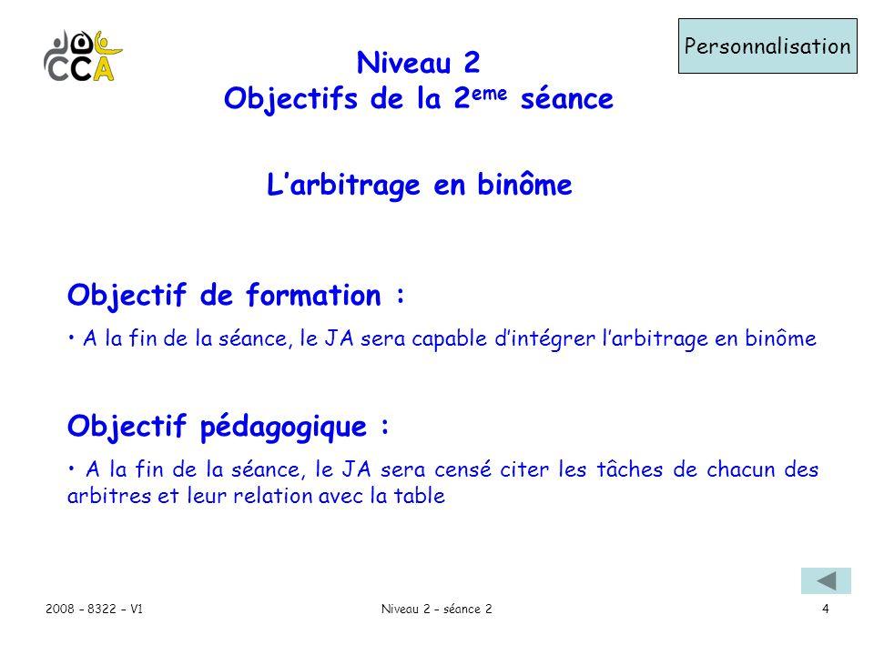 2008 – 8322 – V1Niveau 2 – séance 24 Niveau 2 Objectifs de la 2 eme séance Personnalisation Objectif de formation : A la fin de la séance, le JA sera capable dintégrer larbitrage en binôme Objectif pédagogique : A la fin de la séance, le JA sera censé citer les tâches de chacun des arbitres et leur relation avec la table Larbitrage en binôme