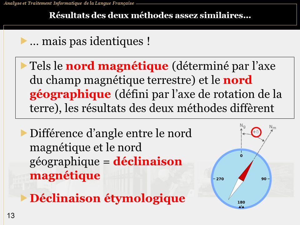 Analyse et Traitement Informatique de la Langue Française 13 Résultats des deux méthodes assez similaires… … mais pas identiques .