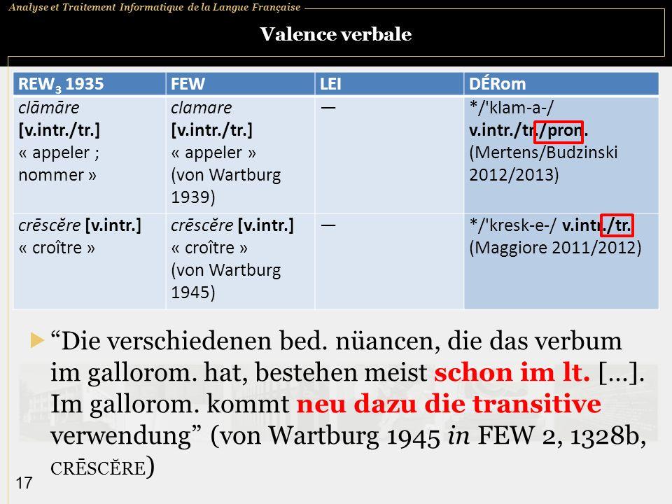 Analyse et Traitement Informatique de la Langue Française 17 Valence verbale REW 3 1935FEWLEIDÉRom clāmāre [v.intr./tr.] « appeler ; nommer » clamare [v.intr./tr.] « appeler » (von Wartburg 1939) */ klam a / v.intr./tr./pron.