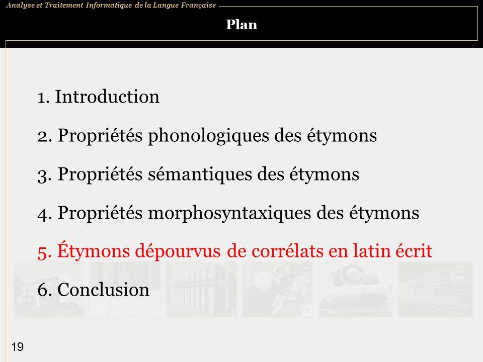 Analyse et Traitement Informatique de la Langue Française 19 Plan 1.