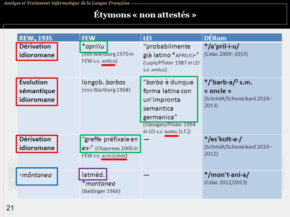 Analyse et Traitement Informatique de la Langue Française 21 Étymons « non attestés » REW 3 1935FEWLEIDÉRom Dérivation idioromane *apriliu (von Wartburg 1970 in FEW s.v.