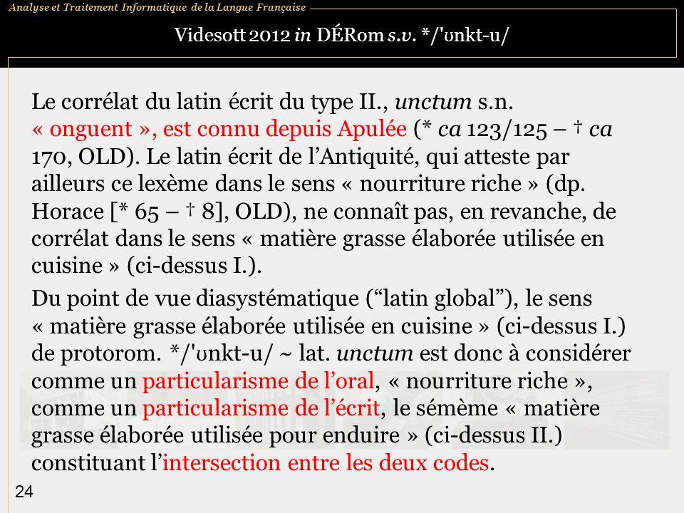 Analyse et Traitement Informatique de la Langue Française 24 Videsott 2012 in DÉRom s.v.