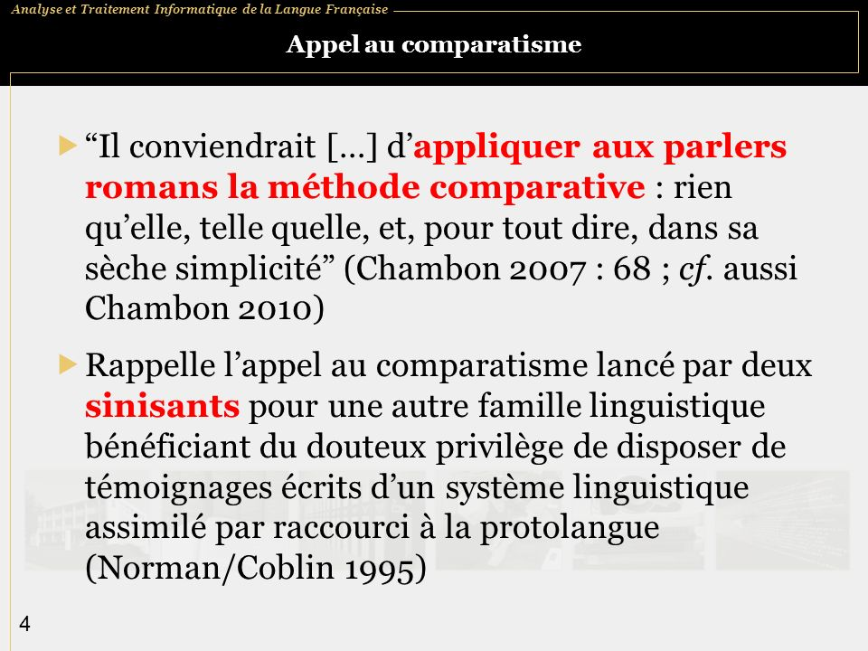 Analyse et Traitement Informatique de la Langue Française 5 DÉRom (Dictionnaire Étymologique Roman)