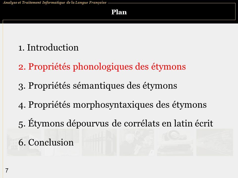 Analyse et Traitement Informatique de la Langue Française 7 Plan 1.