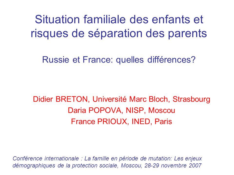 Russie - France - % denfants dont les parents sont séparés, daprès les mères (p 100 enfants nés au sein dun couple) Russie, Resp = mother France, Resp = mother Une augmentation beaucoup plus rapide des ruptures en Russie