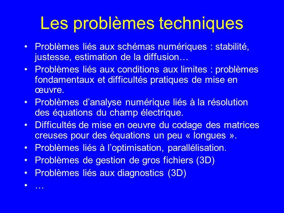Les problèmes techniques Problèmes liés aux schémas numériques : stabilité, justesse, estimation de la diffusion… Problèmes liés aux conditions aux limites : problèmes fondamentaux et difficultés pratiques de mise en œuvre.
