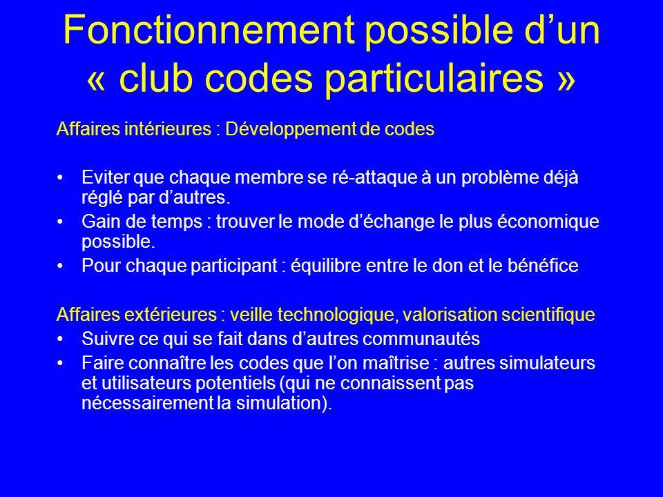 Fonctionnement possible dun « club codes particulaires » Affaires intérieures : Développement de codes Eviter que chaque membre se ré-attaque à un problème déjà réglé par dautres.