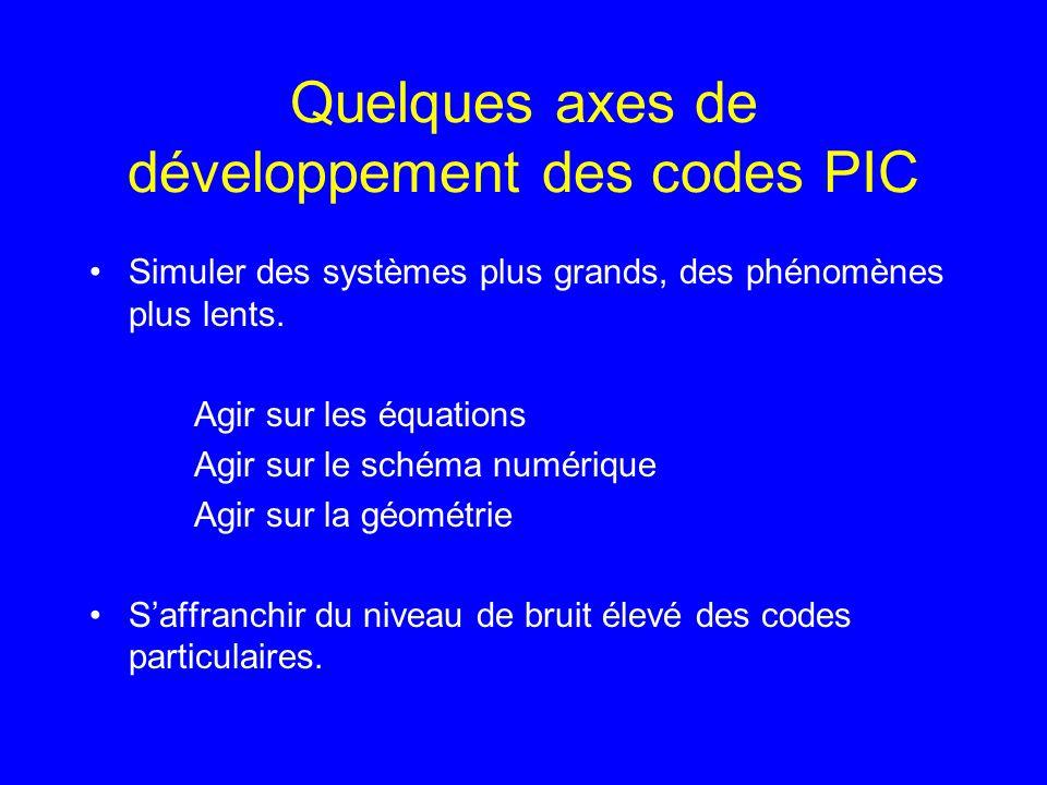 Quelques axes de développement des codes PIC Simuler des systèmes plus grands, des phénomènes plus lents.