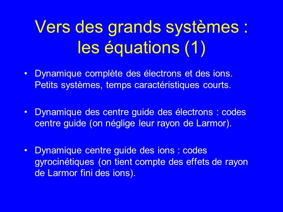 Vers des grands systèmes : les équations (1) Dynamique complète des électrons et des ions.
