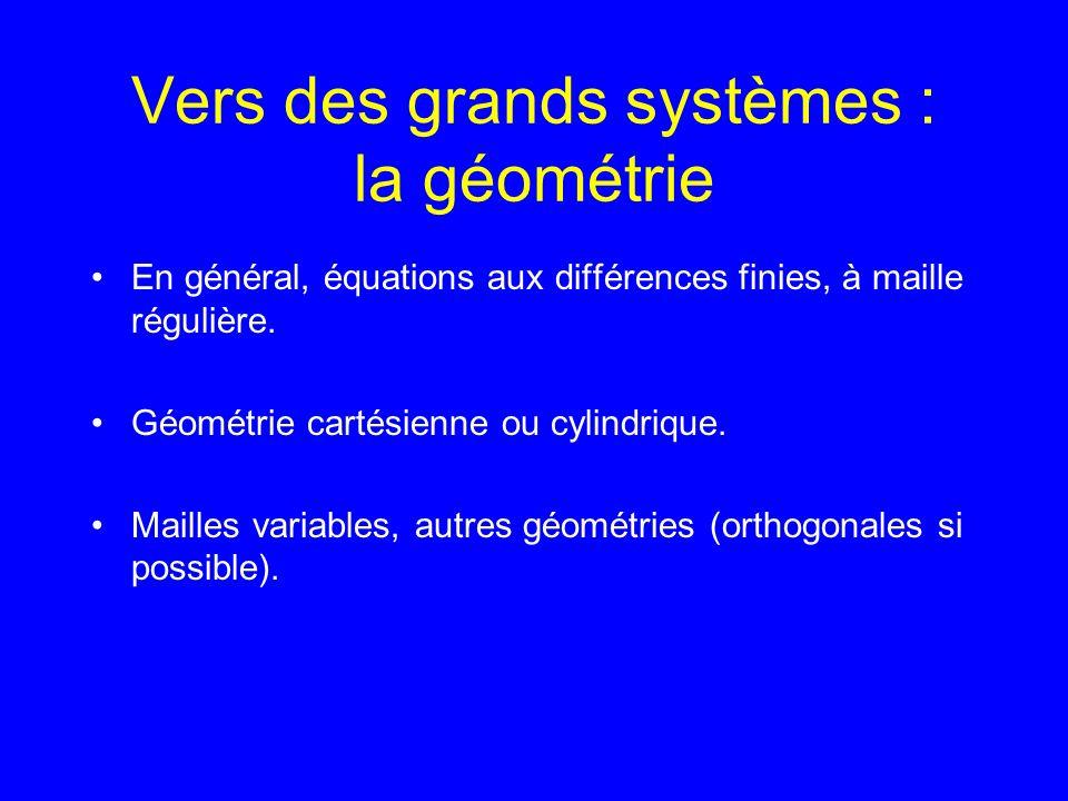 Vers des grands systèmes : la géométrie En général, équations aux différences finies, à maille régulière.