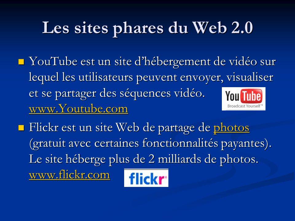 Les sites phares du Web 2.0 YouTube est un site dhébergement de vidéo sur lequel les utilisateurs peuvent envoyer, visualiser et se partager des séque
