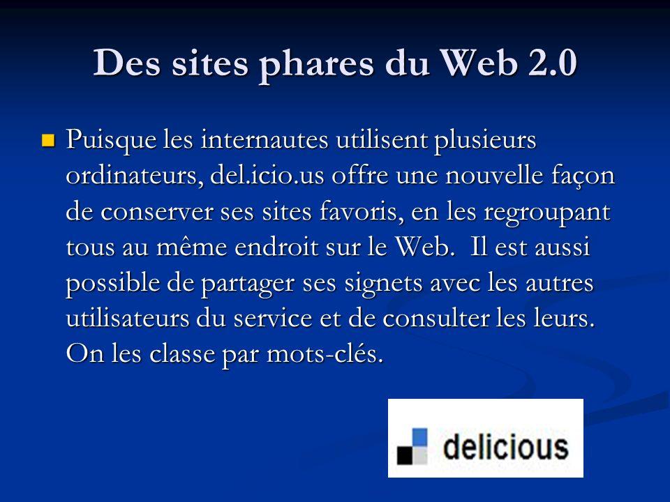 Des sites phares du Web 2.0 Puisque les internautes utilisent plusieurs ordinateurs, del.icio.us offre une nouvelle façon de conserver ses sites favor