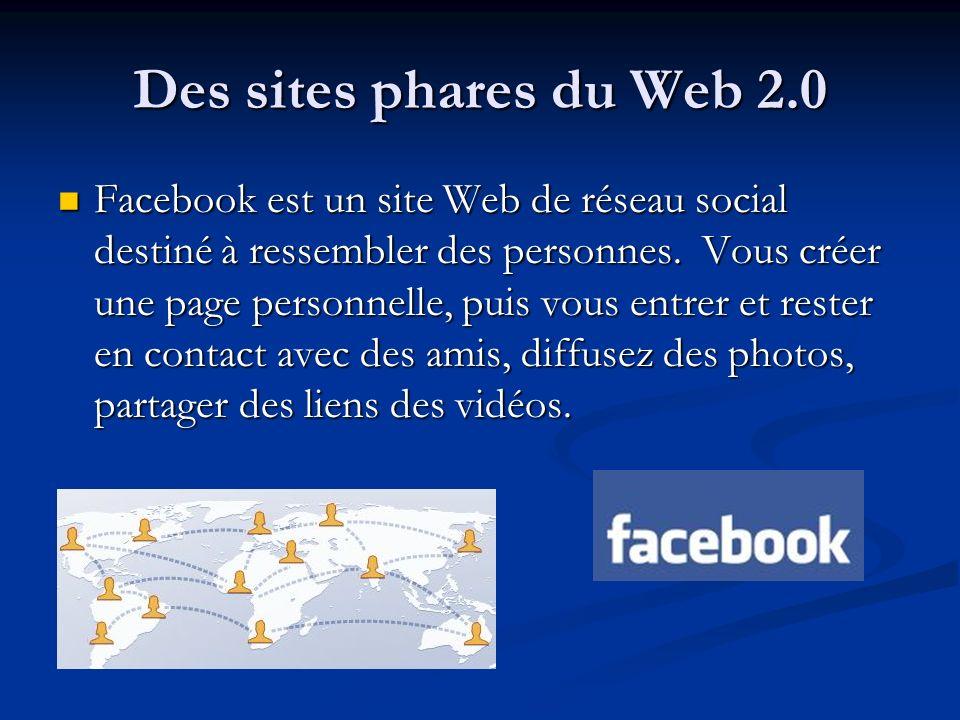 Des sites phares du Web 2.0 Facebook est un site Web de réseau social destiné à ressembler des personnes. Vous créer une page personnelle, puis vous e
