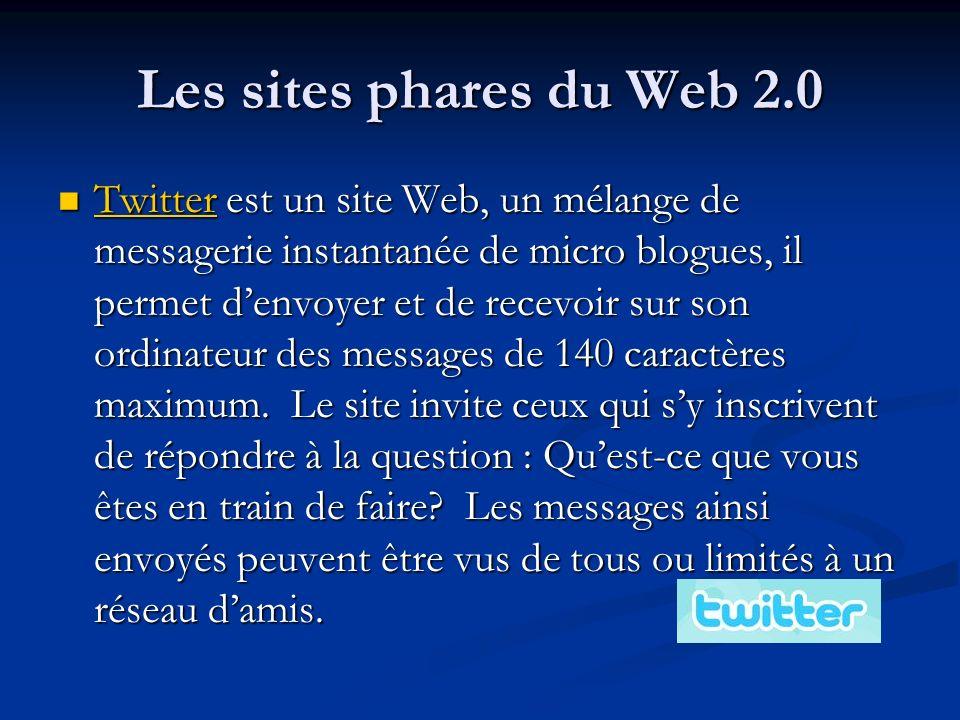 Les sites phares du Web 2.0 Twitter est un site Web, un mélange de messagerie instantanée de micro blogues, il permet denvoyer et de recevoir sur son