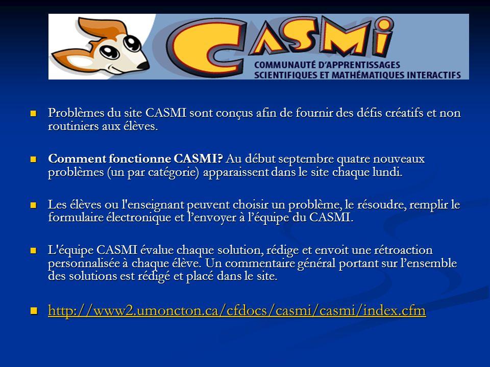 Problèmes du site CASMI sont conçus afin de fournir des défis créatifs et non routiniers aux élèves. Problèmes du site CASMI sont conçus afin de fourn