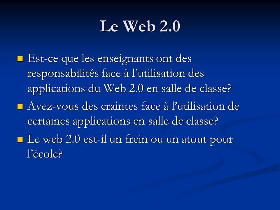 Le Web 2.0 Est-ce que les enseignants ont des responsabilités face à lutilisation des applications du Web 2.0 en salle de classe? Est-ce que les ensei