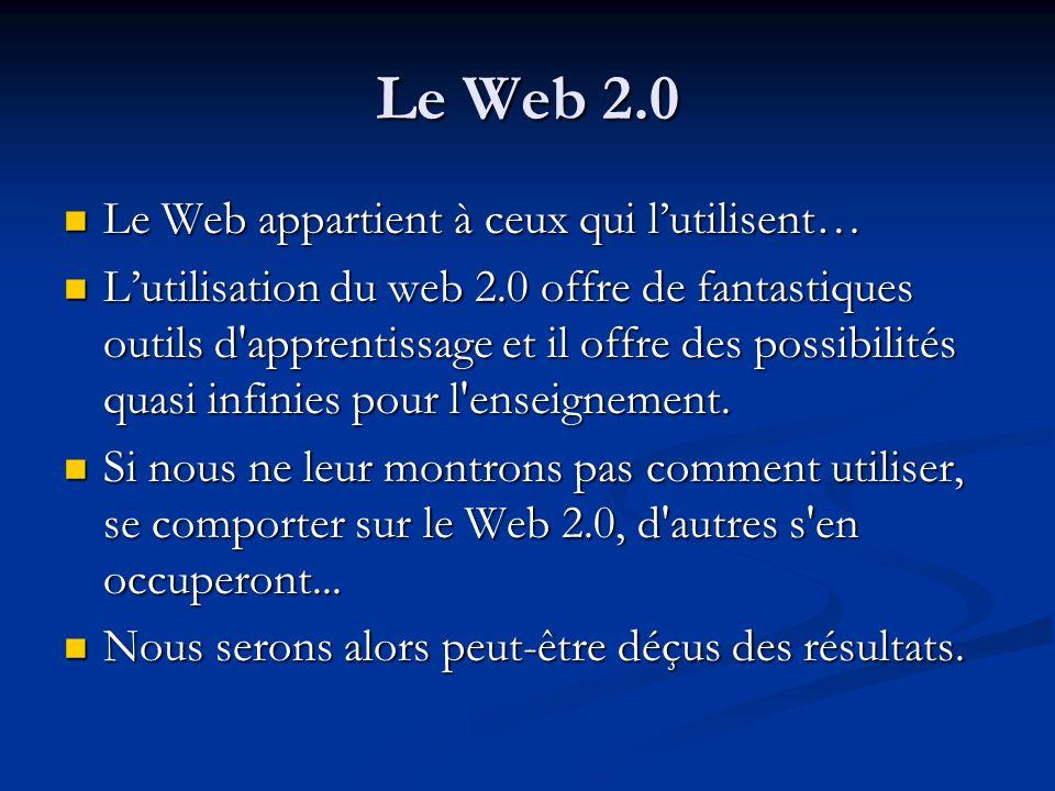 Le Web 2.0 Le Web appartient à ceux qui lutilisent… Le Web appartient à ceux qui lutilisent… Lutilisation du web 2.0 offre de fantastiques outils d'ap