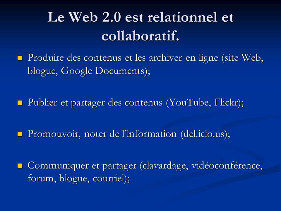 Le Web 2.0 est relationnel et collaboratif. Produire des contenus et les archiver en ligne (site Web, blogue, Google Documents); Produire des contenus