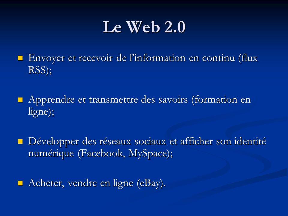 Le Web 2.0 Envoyer et recevoir de linformation en continu (flux RSS); Envoyer et recevoir de linformation en continu (flux RSS); Apprendre et transmet