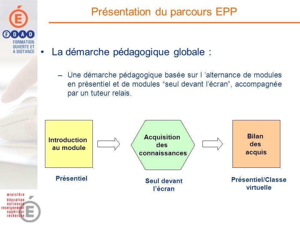 La démarche pédagogique globale : –Une démarche pédagogique basée sur l alternance de modules en présentiel et de modules seul devant lécran, accompag