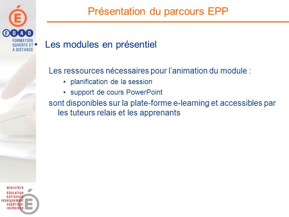 Les modules en présentiel Les ressources nécessaires pour lanimation du module : planification de la session support de cours PowerPoint sont disponib