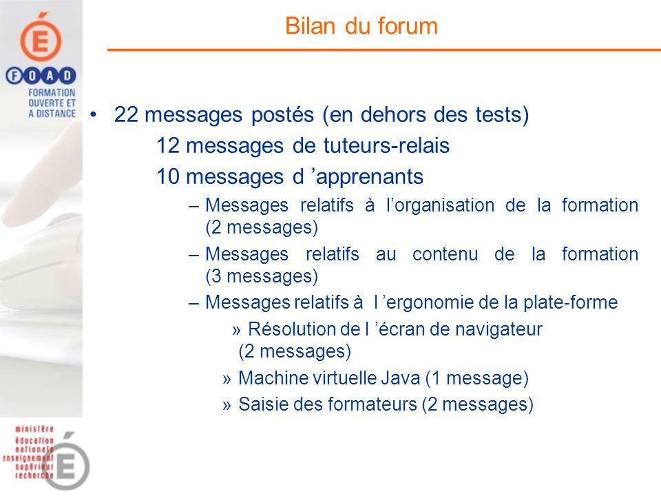 Bilan du forum 22 messages postés (en dehors des tests) 12 messages de tuteurs-relais 10 messages d apprenants –Messages relatifs à lorganisation de l