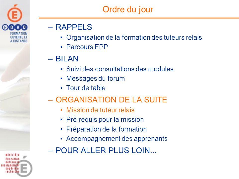 Ordre du jour –RAPPELS Organisation de la formation des tuteurs relais Parcours EPP –BILAN Suivi des consultations des modules Messages du forum Tour