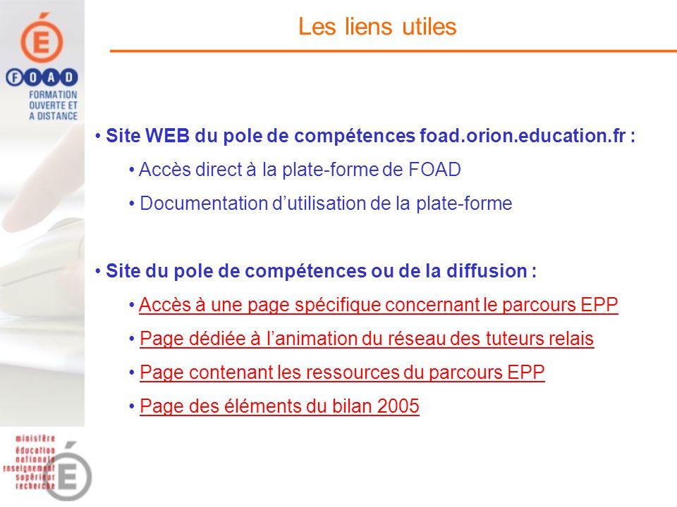 Les liens utiles Site WEB du pole de compétences foad.orion.education.fr : Accès direct à la plate-forme de FOAD Documentation dutilisation de la plat