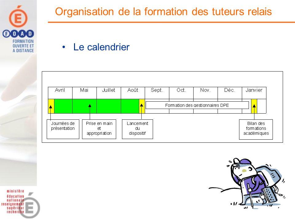 Organisation de la formation des tuteurs relais Le calendrier