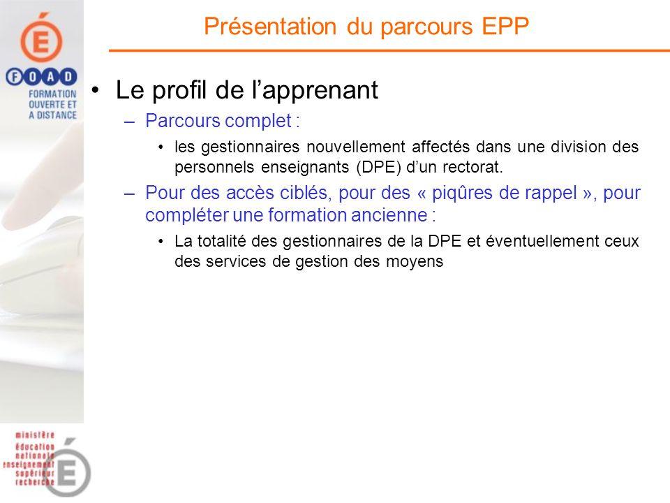 Le profil de lapprenant –Parcours complet : les gestionnaires nouvellement affectés dans une division des personnels enseignants (DPE) dun rectorat. –