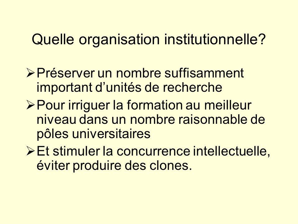 Quelle organisation institutionnelle.