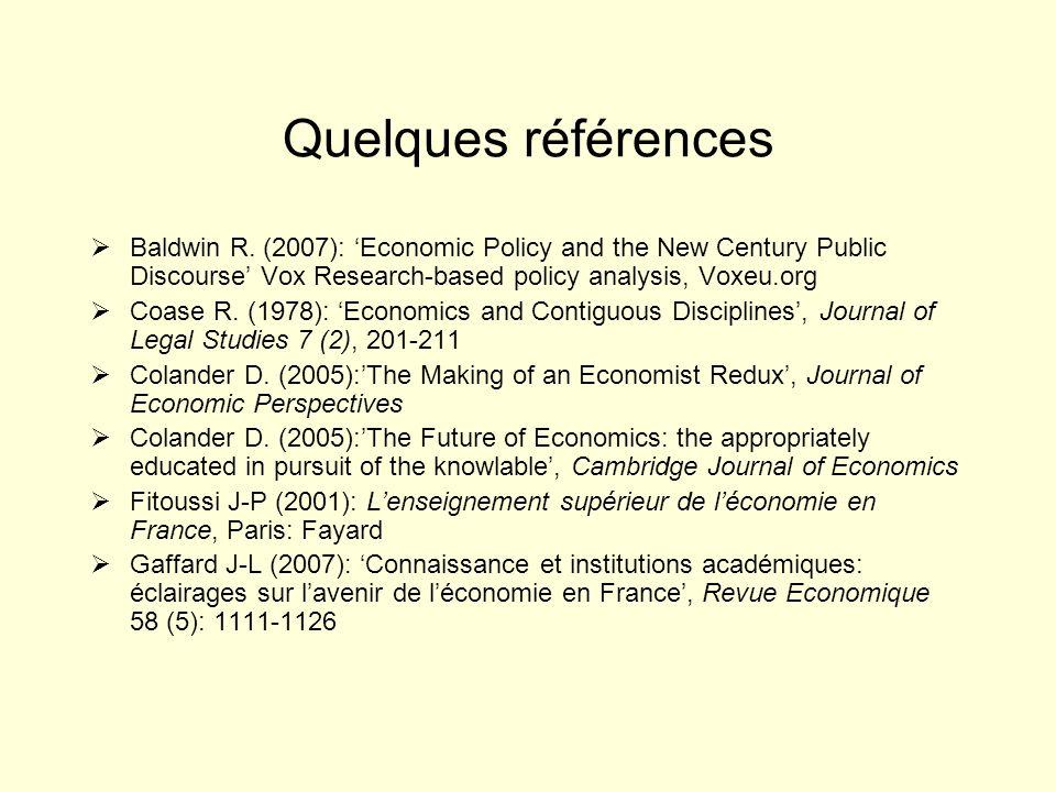 Quelques références Baldwin R.