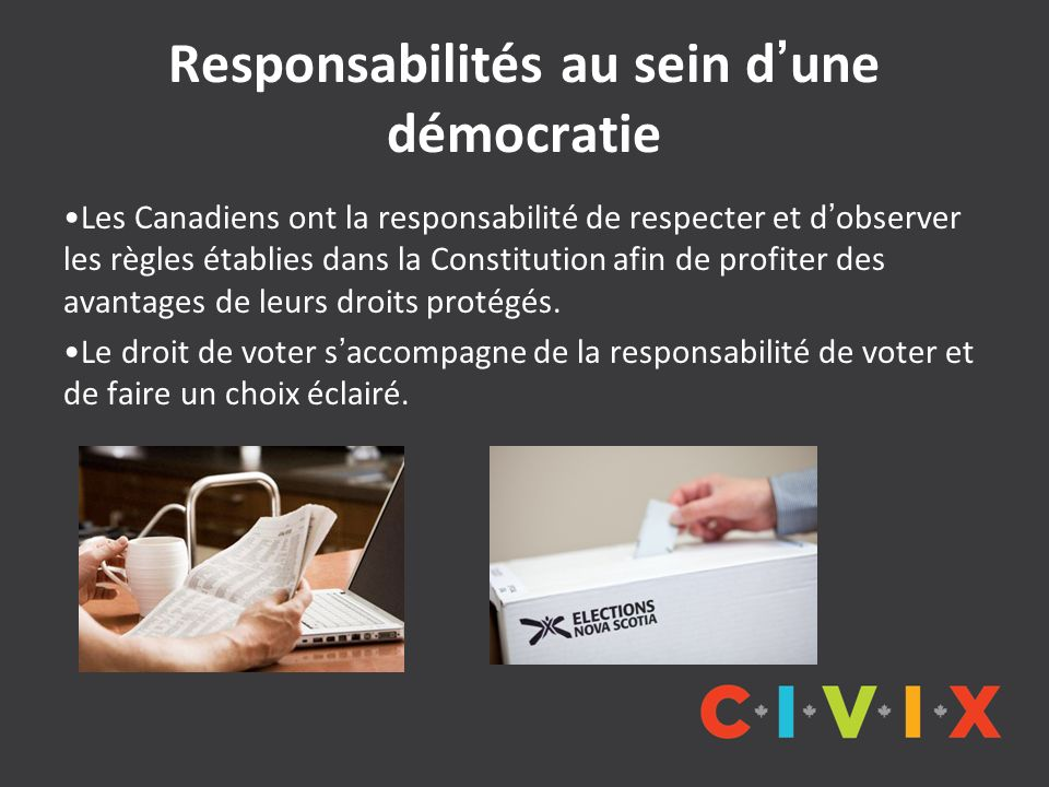 Responsabilités au sein dune démocratie Les Canadiens ont la responsabilité de respecter et dobserver les règles établies dans la Constitution afin de