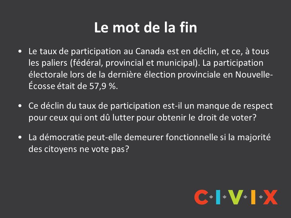 Le mot de la fin Le taux de participation au Canada est en déclin, et ce, à tous les paliers (fédéral, provincial et municipal). La participation élec