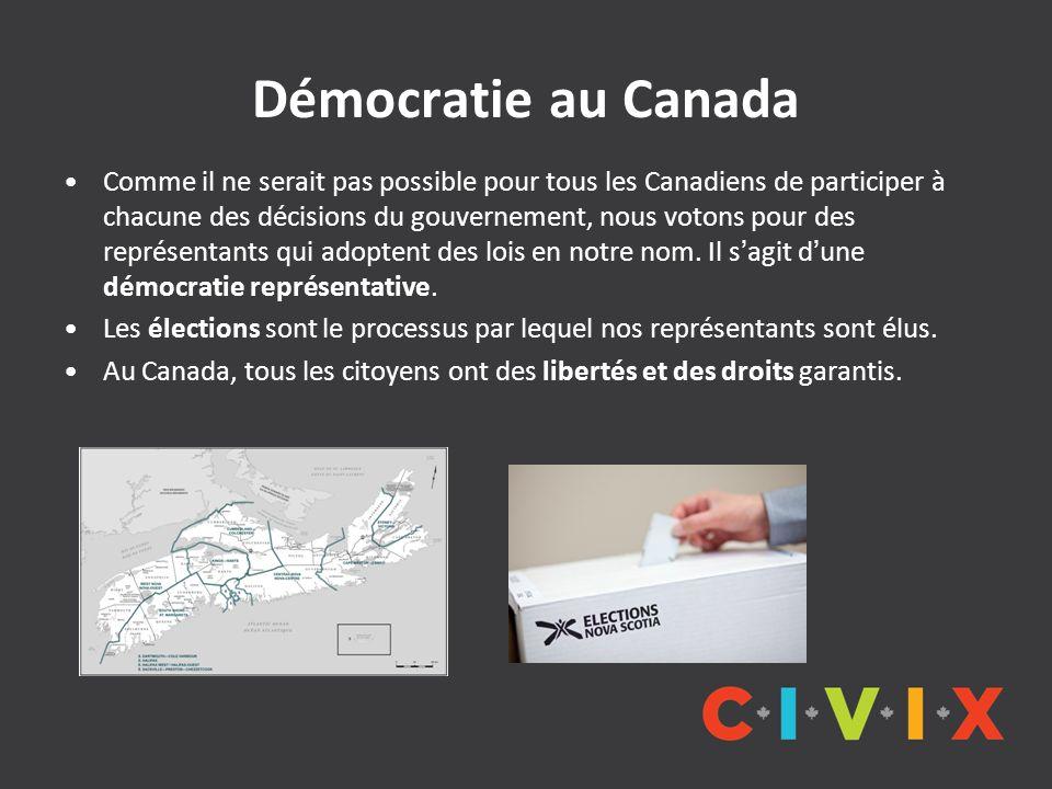 Démocratie au Canada Comme il ne serait pas possible pour tous les Canadiens de participer à chacune des décisions du gouvernement, nous votons pour d
