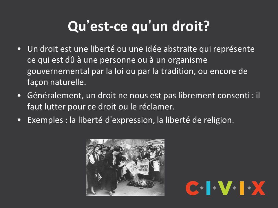Quest-ce quun droit? Un droit est une liberté ou une idée abstraite qui représente ce qui est dû à une personne ou à un organisme gouvernemental par l