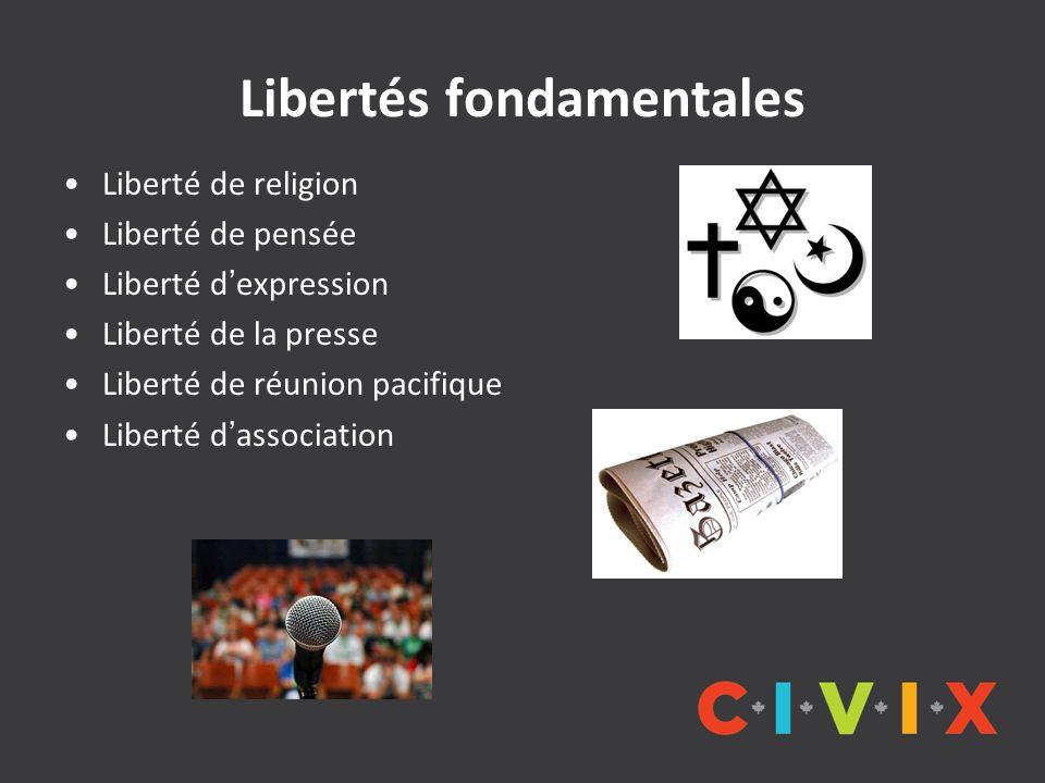 Libertés fondamentales Liberté de religion Liberté de pensée Liberté dexpression Liberté de la presse Liberté de réunion pacifique Liberté dassociatio
