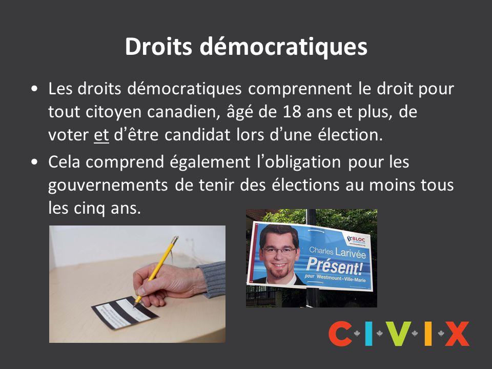 Droits démocratiques Les droits démocratiques comprennent le droit pour tout citoyen canadien, âgé de 18 ans et plus, de voter et dêtre candidat lors