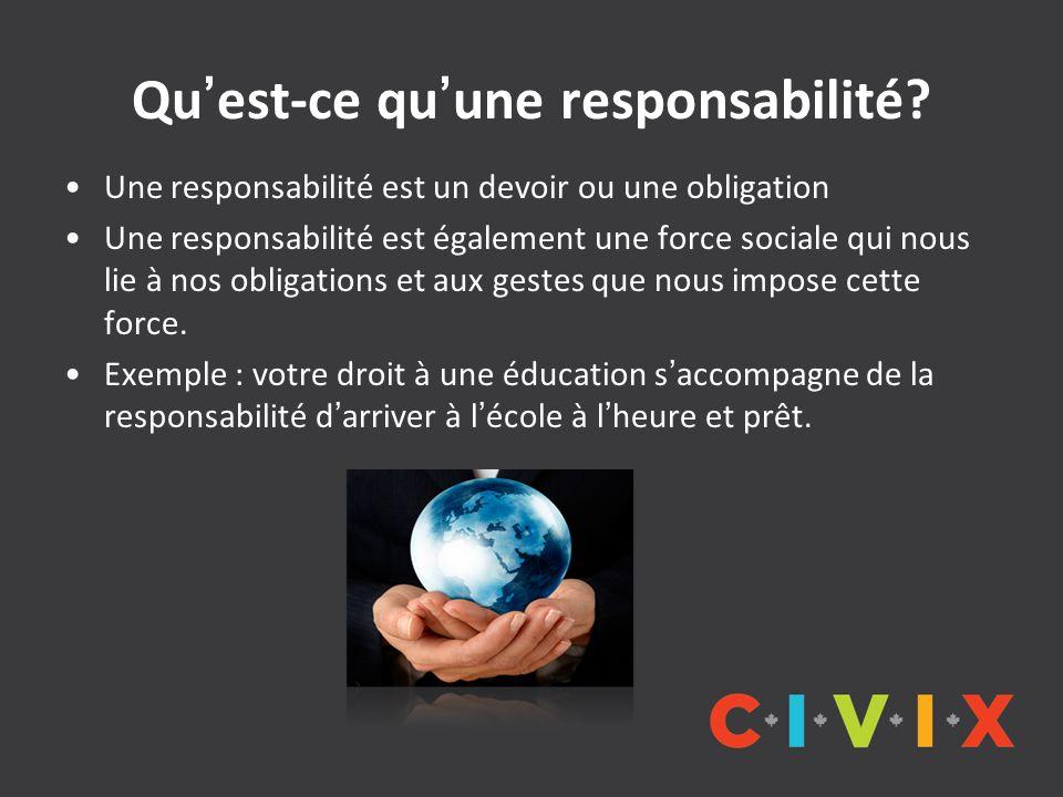 Quest-ce quune responsabilité? Une responsabilité est un devoir ou une obligation Une responsabilité est également une force sociale qui nous lie à no