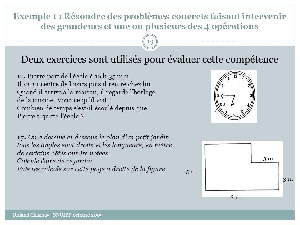 Exemple 1 : Résoudre des problèmes concrets faisant intervenir des grandeurs et une ou plusieurs des 4 opérations Roland Charnay - SNUIPP octobre 2009 19 Deux exercices sont utilisés pour évaluer cette compétence 11.
