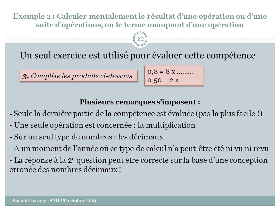 E xemple 2 : Calculer mentalement le résultat dune opération ou dune suite dopérations, ou le terme manquant dune opération Roland Charnay - SNUIPP octobre 2009 22 Un seul exercice est utilisé pour évaluer cette compétence 3.