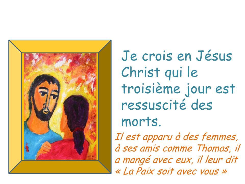 Je crois en Jésus Christ qui le troisième jour est ressuscité des morts. Il est apparu à des femmes, à ses amis comme Thomas, il a mangé avec eux, il