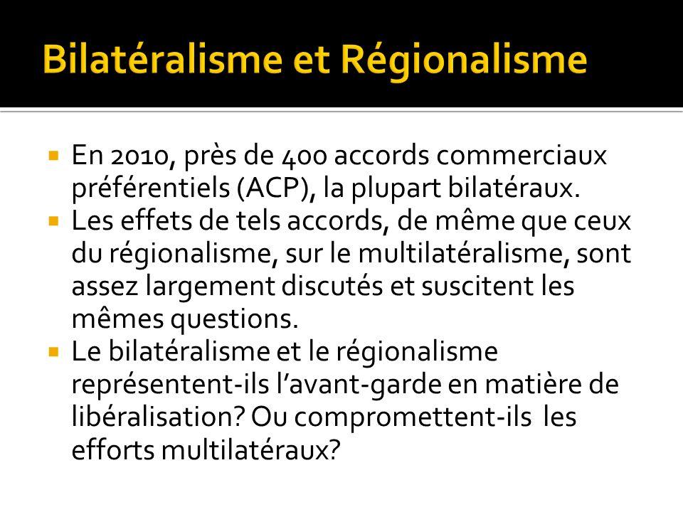 En 2010, près de 400 accords commerciaux préférentiels (ACP), la plupart bilatéraux. Les effets de tels accords, de même que ceux du régionalisme, sur
