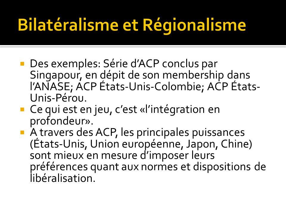 Des exemples: Série dACP conclus par Singapour, en dépit de son membership dans lANASE; ACP États-Unis-Colombie; ACP États- Unis-Pérou. Ce qui est en
